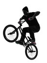 Man bmx acrobatic figure silhouette Stock Photography