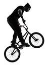 Man bmx acrobatic figure silhouette one caucasian exercising in studio isolated on white background Royalty Free Stock Photos