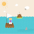 Man on a boat flat illustration