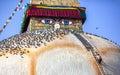 Man at Bodnath stupa Royalty Free Stock Photo