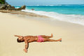 Man Body On Beach. Summer Male Lying On Sand At Resort Royalty Free Stock Photo