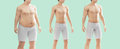 MAn body fat and thin, diet, gym