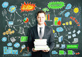 Man with books and business diagram drawn on blackboard concept Royalty Free Stock Photo