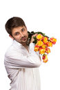 Man with bouquet of red roses isolated on white Stock Photography