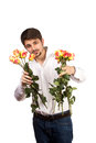 Man with bouquet of red roses isolated on white Stock Photos
