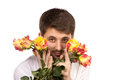 Man with bouquet of red roses isolated on white Royalty Free Stock Photos