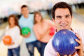 Man bowling Stock Photos