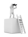 Man on box and staircase Stock Images
