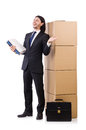 Man with boxes full of work Royalty Free Stock Photos