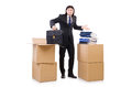 Man with boxes full of work Royalty Free Stock Photo