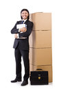 Man with boxes full of work Royalty Free Stock Images