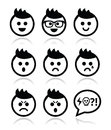 Man or boy with spiky hair faces icons set collection of avatar happy sad angry crying Stock Images