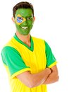 Man with Brazil flag Royalty Free Stock Photography