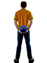 Man brazilian brazil holding soccer ball one with jersey back isolated in white background Royalty Free Stock Photos