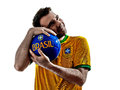 Man brazilian brazil hugging soccer ball one with jersey isolated in white background Stock Images