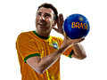 Man brazilian brazil listening to soccer ball one caucasian with jersey isolated in white background Stock Photo