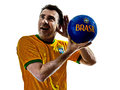 Man brazilian brazil listening to soccer ball one with jersey isolated in white background Royalty Free Stock Image