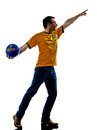 Man brazilian brazil throwing soccer ball one caucasian with jersey isolated in white background Royalty Free Stock Image
