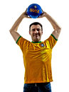 Man brazilian brazil throwing soccer ball one caucasian with jersey isolated in white background Stock Images