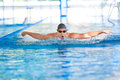 Man breathing while swimming butterfly strokes Stock Image