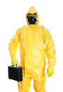 Man with briefcase in protective hazmat suit isolated on white Stock Photography