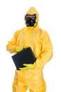 Man with briefcase in protective hazmat suit isolated on white Stock Images