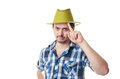 The man with a bristle in green a hat and klechaty blue shirt smiles Stock Images