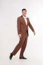 Man in brown suit Royalty Free Stock Photo
