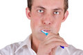 Man brushing his teeth Stock Photography