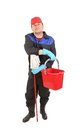 Man with bucket and mop. Royalty Free Stock Photo