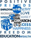 Man Building Quality of Life Illustration Poster