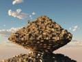 Man builds a pyramid Royalty Free Stock Photo