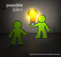 Man with bulb darck creative idea possible vector cartoon illustration Royalty Free Stock Photo