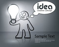 Man with bulb in grey creative idea vector cartoon illustration Royalty Free Stock Photography