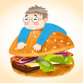 Man on burger vector character this is file of eps format Royalty Free Stock Photography