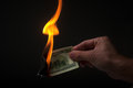 Man burns money Stock Image