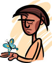 Man with butterfly illustration illustrations of pensive looking at beautiful on his hand Stock Images
