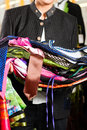 Man is buying Tracht or dirndl in a shop Royalty Free Stock Image