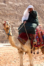Man on Camel at pyramids Stock Photography