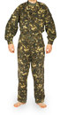 Man in camouflage jacket and pants Royalty Free Stock Photo