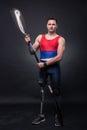 Man canoe kayak paddle, athlete sportsman, prosthetic leg, disab Royalty Free Stock Photo