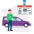 Man with car and driver license Royalty Free Stock Photo