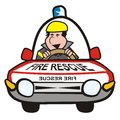 Man in the car fire rescue fireman rides a on case Royalty Free Stock Image