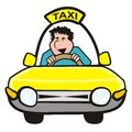 Man in the car taxi driver goes yellow humorous illustration Royalty Free Stock Photography