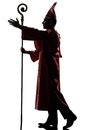 Man cardinal bishop silhouette saluting blessing Stock Photo