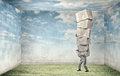 Man carry carton boxes Royalty Free Stock Photo