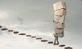 Man carry carton boxes Royalty Free Stock Photo