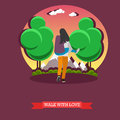 Man carry his girlfriend on back. Romantic happy couple concept vector illustration