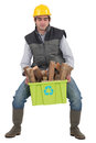 Man carrying box recyclable wood Stock Photos