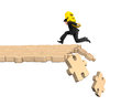 Man carrying Euro symbol running on breaking puzzle path Royalty Free Stock Photo